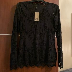 H&M black lace long sleeve top in size Medium.